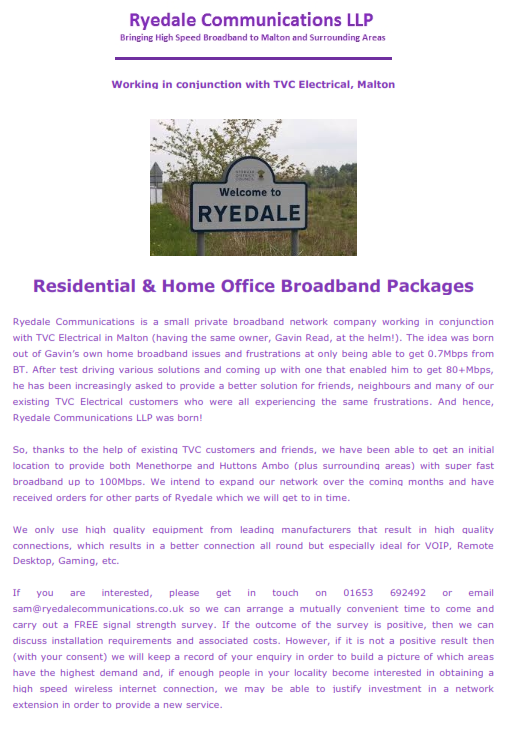 Ryedale Communications Covering Letter 2019